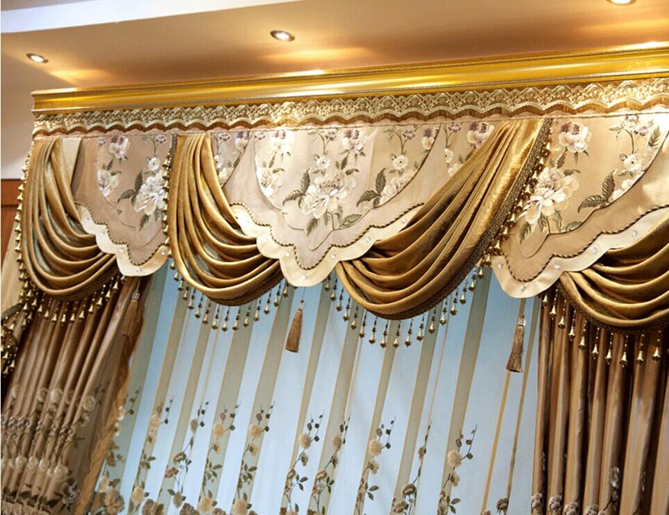 欧式中式高档绣花客厅遮光窗帘图片